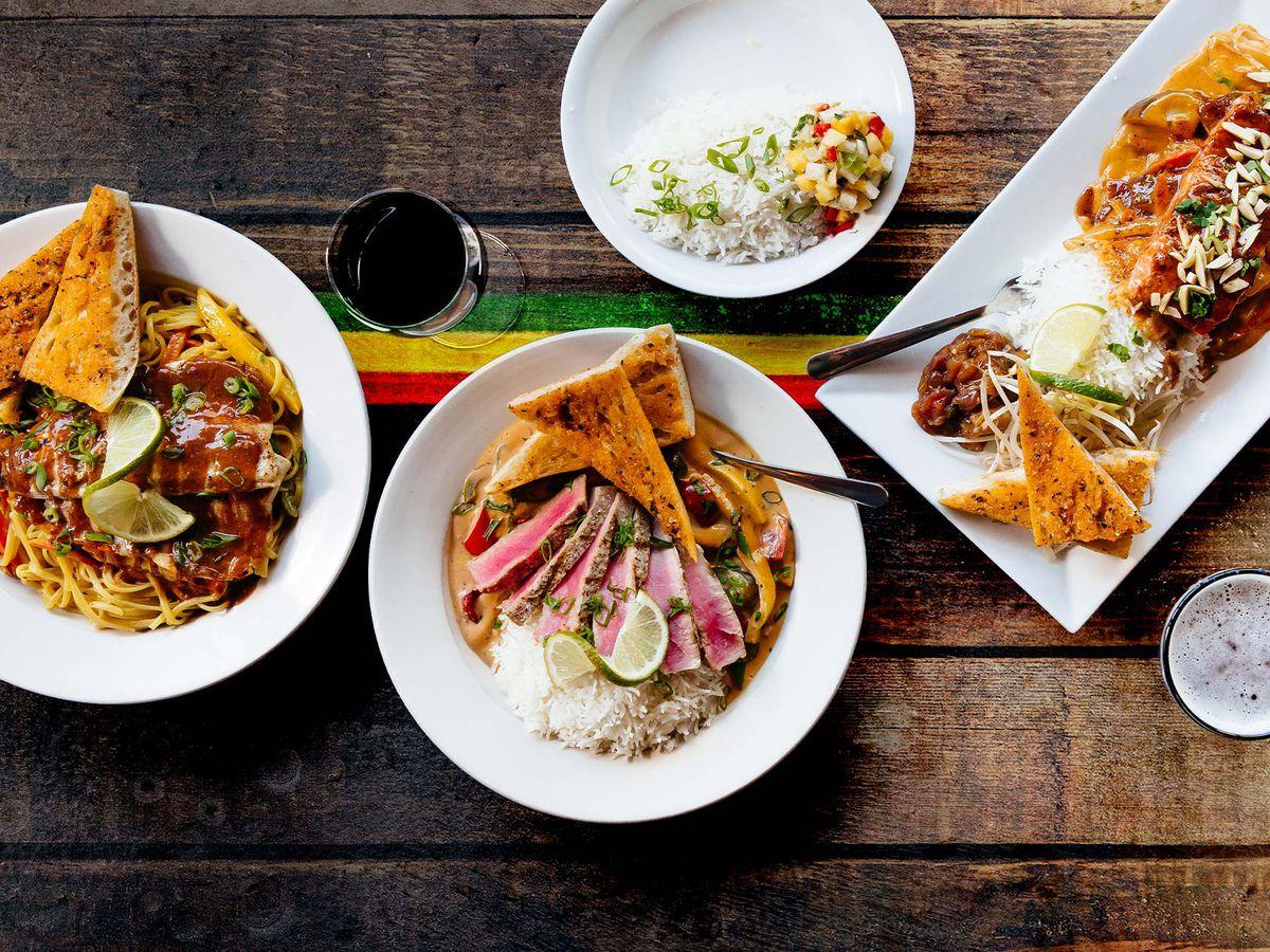 Jamaican food on a table