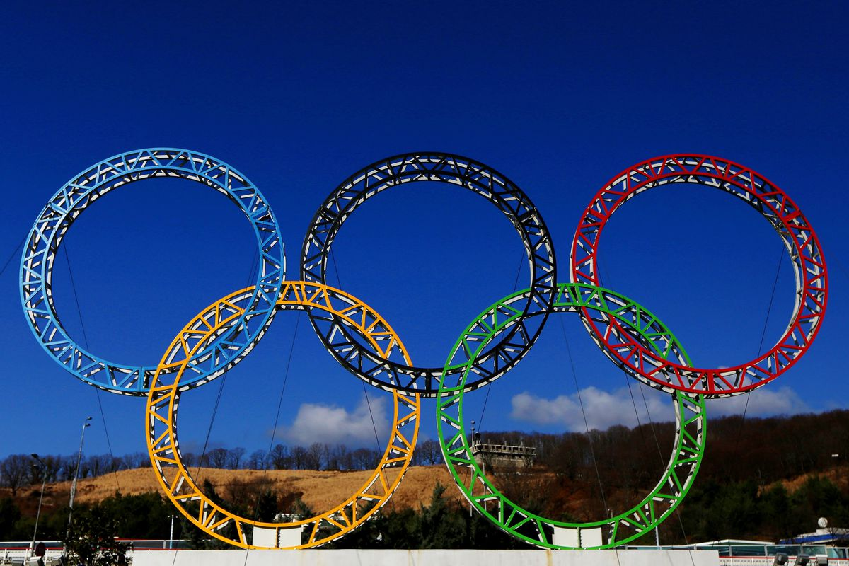 The Olympic Rings stand outside of Sochi International Airport on January 8, 2014 in Alder, Russia.