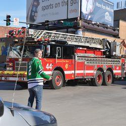 Fire truck arrives at Clark & Addison -