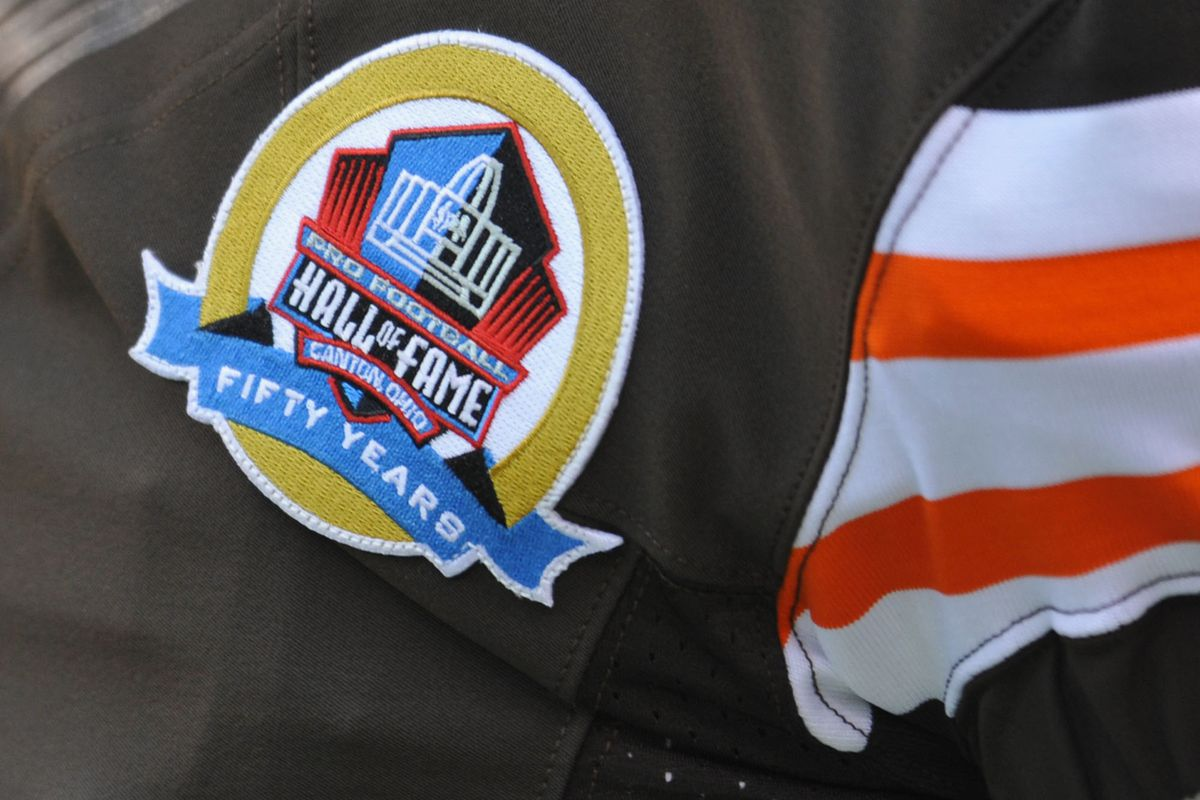 A close-up of a Cleveland Browns jersey.