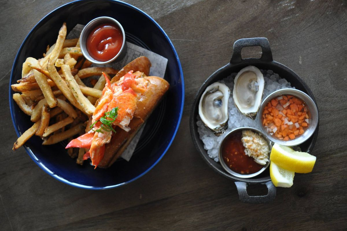 Lobster roll, fries, and oysters from Garbo's