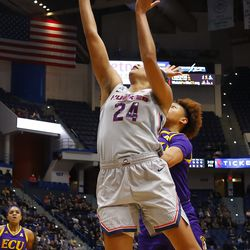 The ECU Pirates take on the UConn Huskies in a women's college basketball game at the XL Center in Hartford, CT on February 6, 2019.