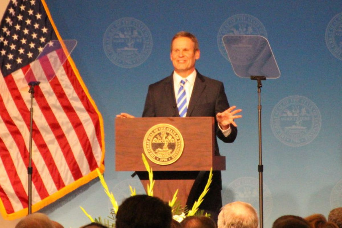 Tennessee Gov. Bill Lee delivers his State of West Tennessee address at the University of Memphis.