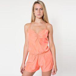 "American Apparel faux silk romper in Coral, $44 at <a href=""http://store.americanapparel.net/silky-romper_rsaxs302"">American Apparel</a>"