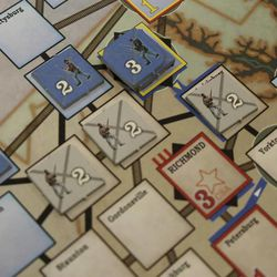 Union units defend Washington, D.C., while Confederate troops protect Richmond, Virginia, in A House Divided, from Mayfair Games.