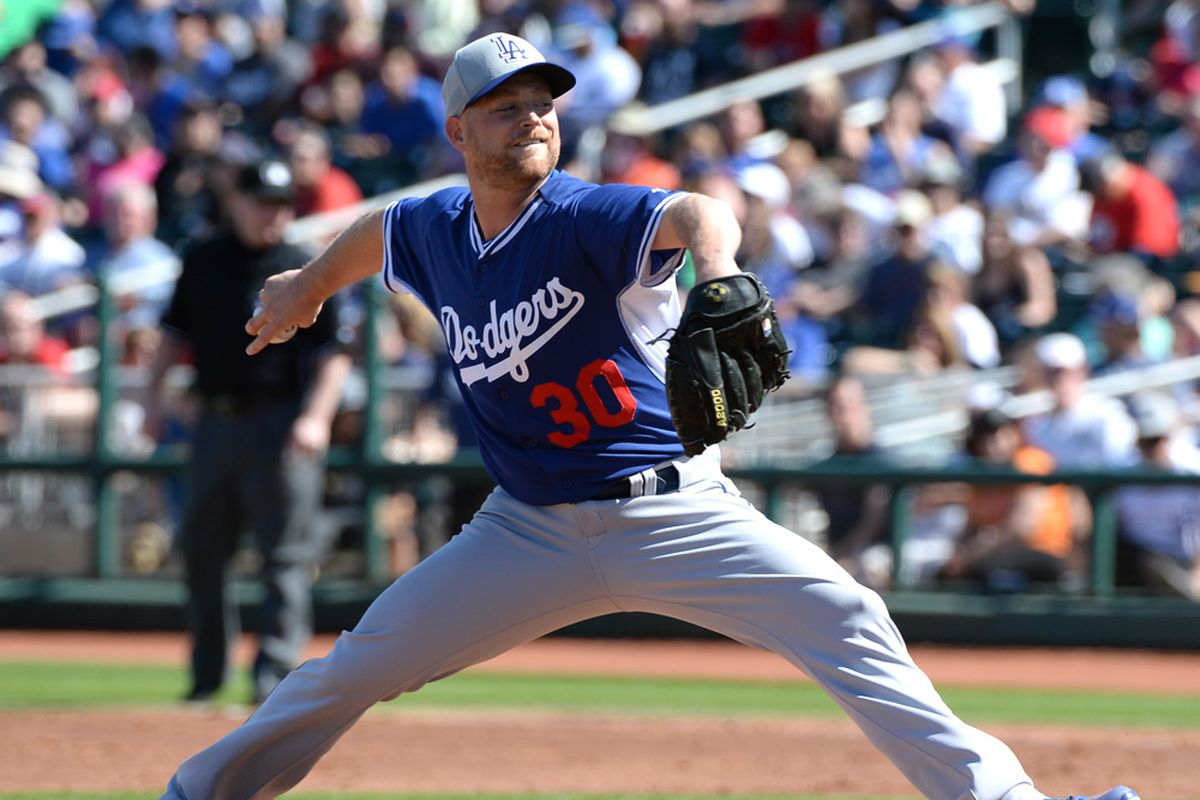 Chad Gaudin threw two scoreless innings on Saturday for the Dodgers.