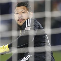 Real's Nick Rimando looks back as a ball shoots past during the shootout as Real Salt Lake and Sporting KC play Saturday, Dec. 7, 2013 in MLS Cup action. Sporting KC won in a shootout.