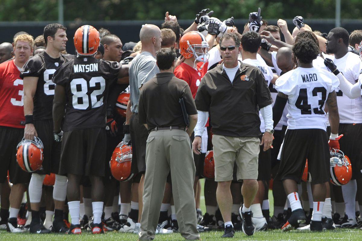 Jun 12, 2012; Berea, OH, USA; Cleveland Browns head coach Pat Shurmur walks from the huddle at the end of minicamp at the Cleveland Browns training facility. Mandatory Credit: David Richard-US PRESSWIRE