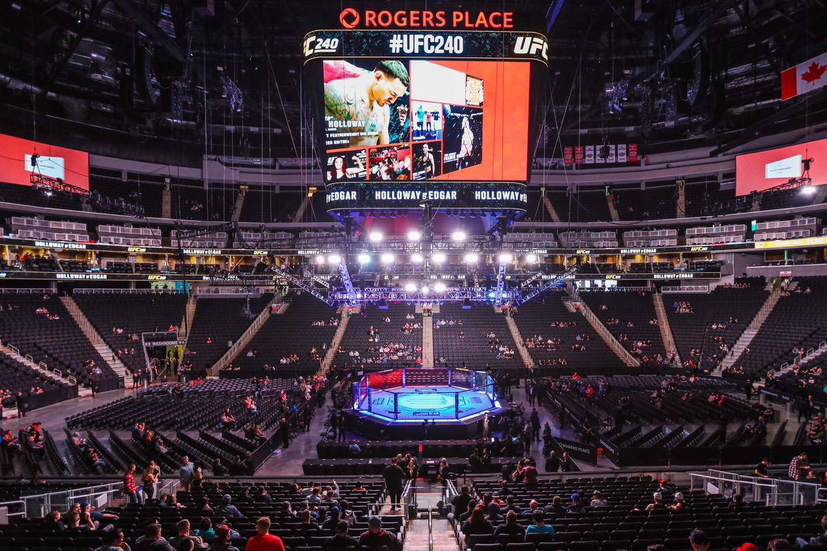 General view of the octagon before UFC 240 at Rogers Place.