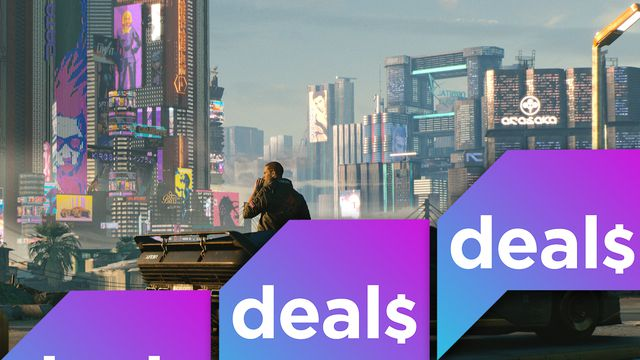 A screenshot of a man standing outside a cyberpunk landscape from Cyberpunk 2077 overlaid with the Polygon Deals logo
