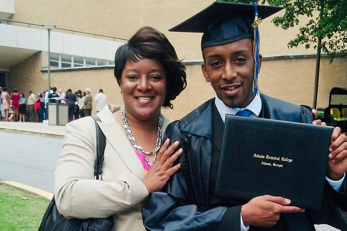 Ellen Trawick and her son, Kawaski Trawick, at his college graduation in 2013.