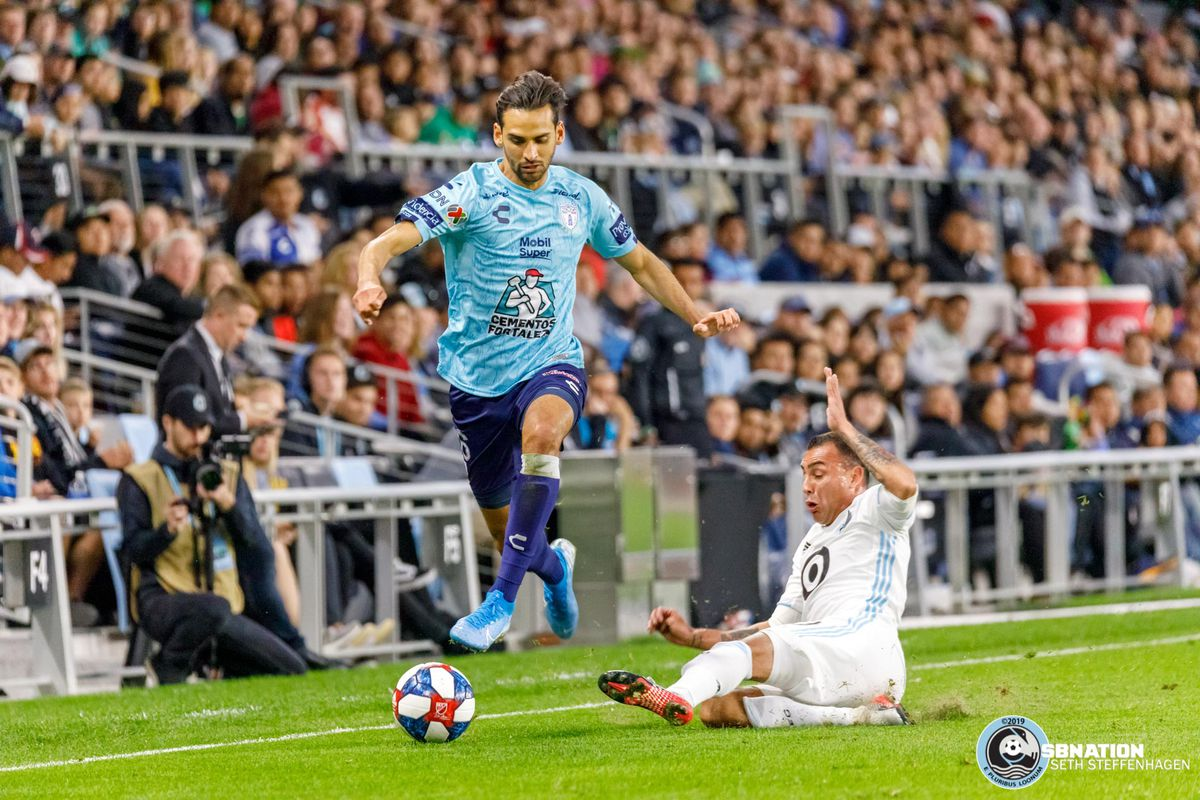September 7, 2019 - Saint Paul, Minnesota, United States - Minnesota United midfielder Miguel Ibarra (10) goes in for a slide tackle during the international friendly match against Pachuca at Allianz Field.