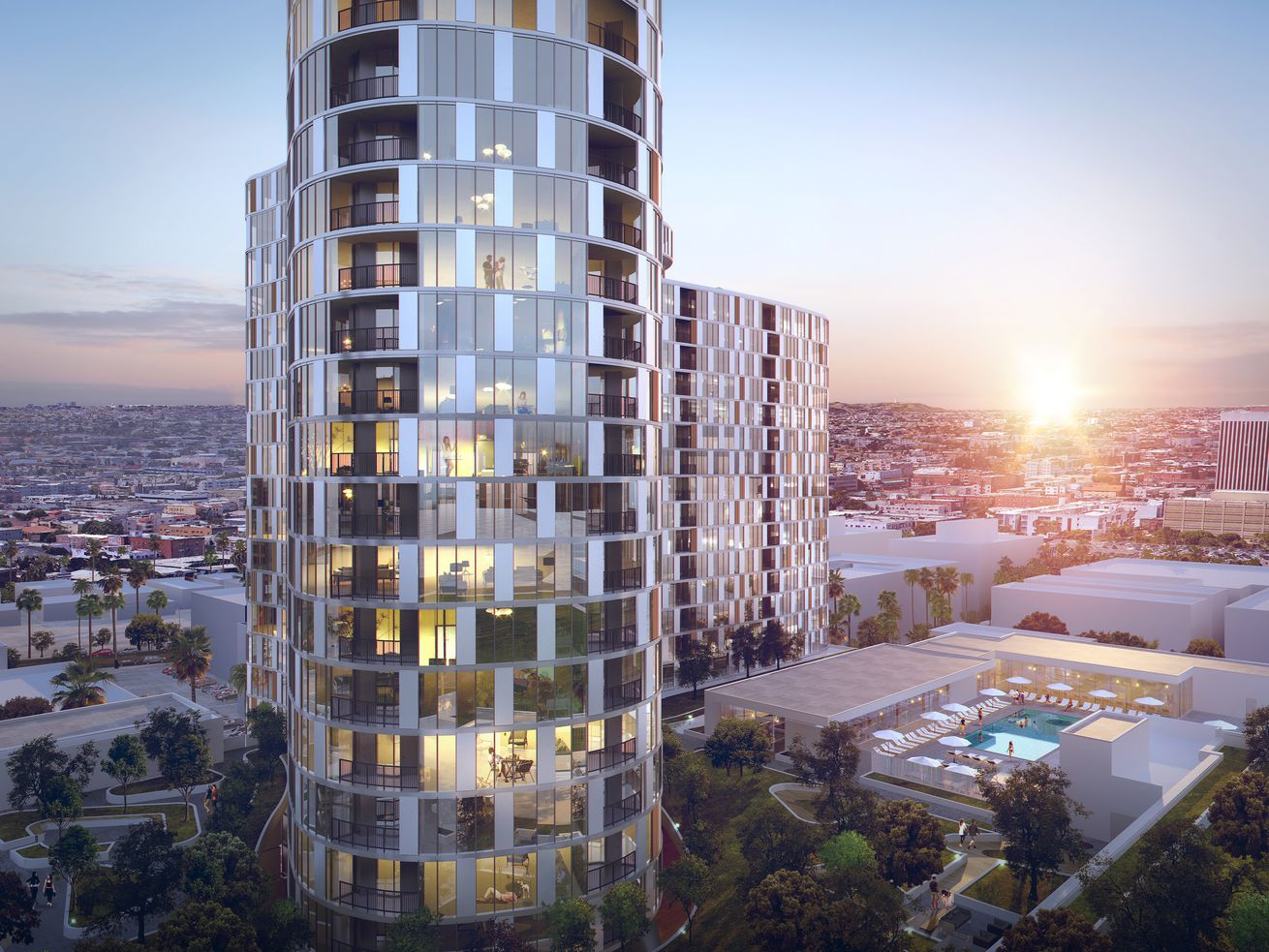 The tower, designed by Large Architecture, will sit atop a podium at 2900 Wilshire Boulevard.
