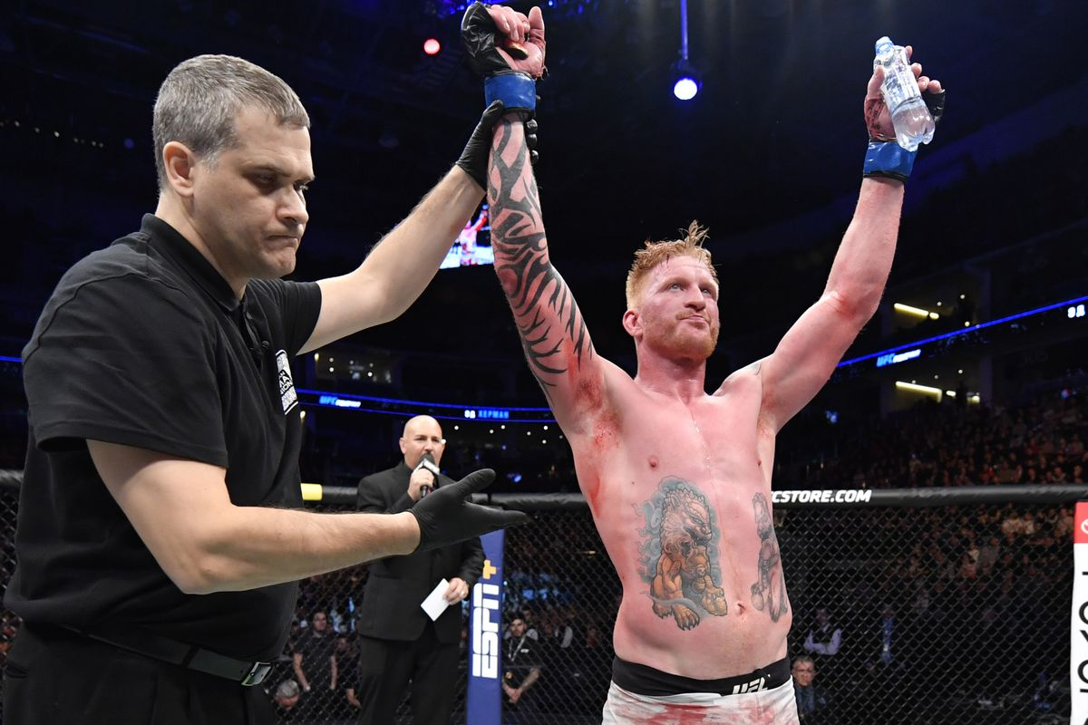 Ed Herman reacts after defeating Khadis Ibragimov of Russia in their light heavyweight bout during the UFC Fight Night event at CSKA Arena on November 09, 2019 in Moscow, Russia.