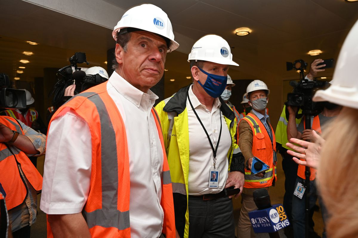 Governor Andrew Cuomo help lead a tour of the East Side Access station beneath Grand Central Terminal, May 27, 2021.
