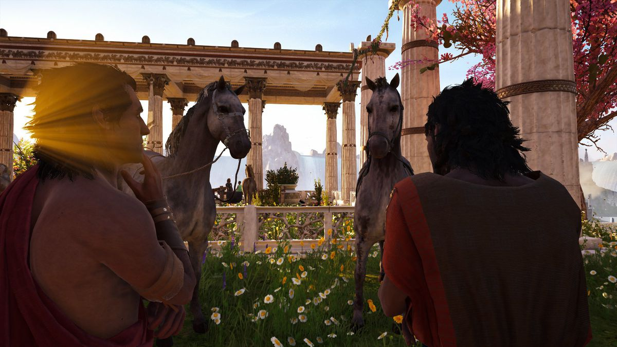 Two Assassin's Creed Odyssey NPCs think deeply about horses.