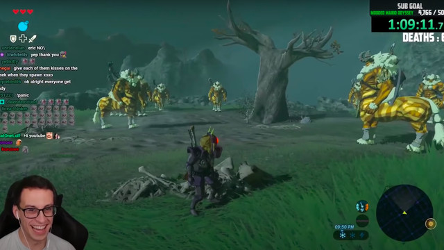 Twitch streamer PointCrow laughs as he witness a handful of Golden Lynels surrounding Link in Breath of the Wild.