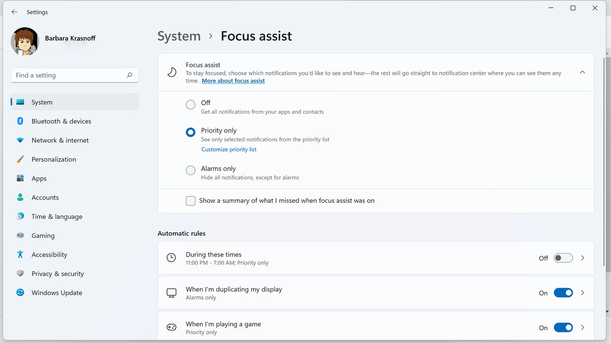 Within system settings, you can decide when you want Focus assist to activate, and for which notifications.