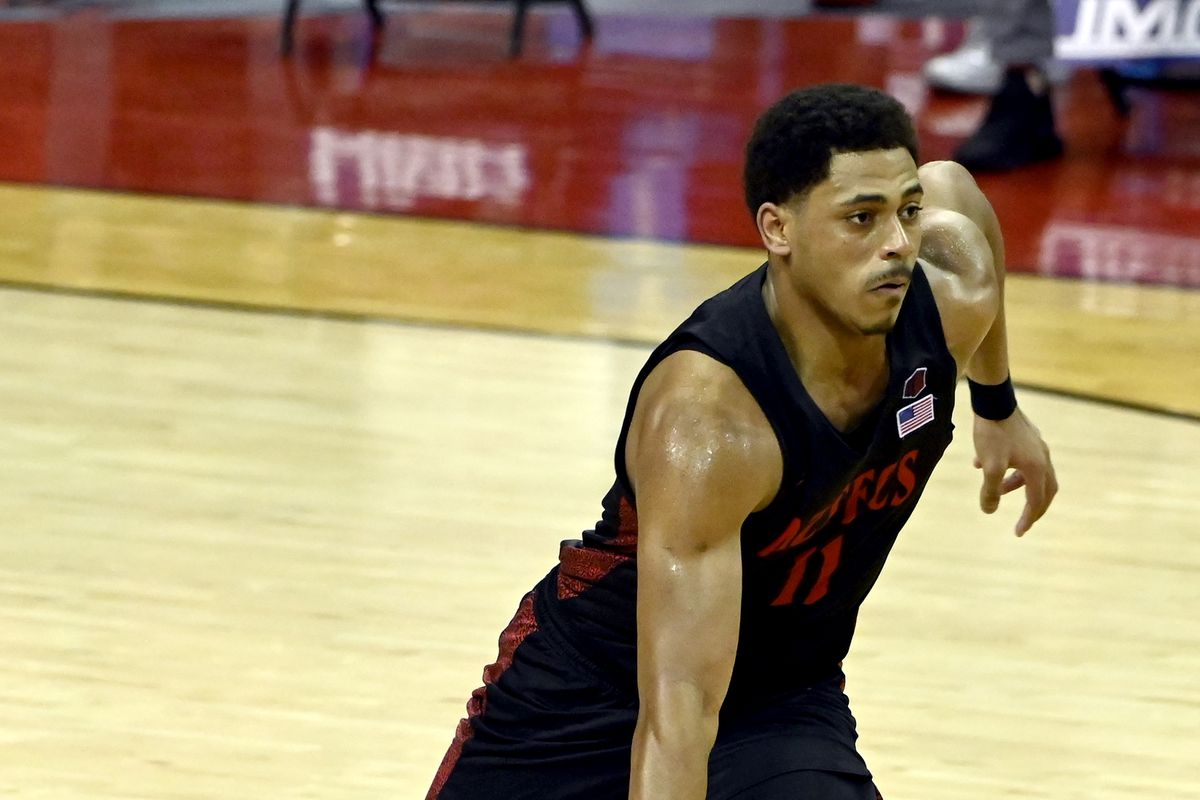 Matt Mitchell of the San Diego State Aztecs drives to the basket against the UNLV Rebels during their game at the Thomas & Mack Center on March 03, 2021 in Las Vegas, Nevada. The Aztecs won 71-62.