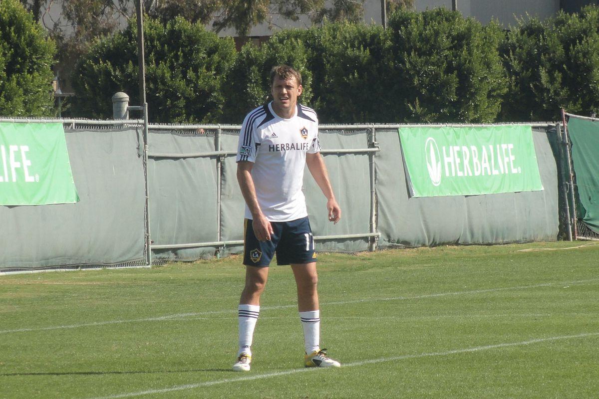 Adam Cristman at the ready in the LA Galaxy's preseason game against the LA Blues. Photo credit: Eli O'Connor for LAG Confidential