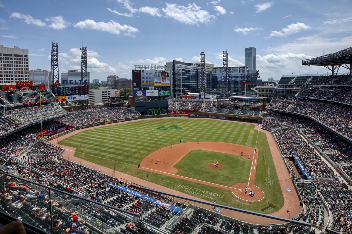 General overall view of the ballpark during the MLB game between the Milwaukee Brewers and Atlanta Braves on August 1, 2021 at Truist Park in Atlanta, Ga.