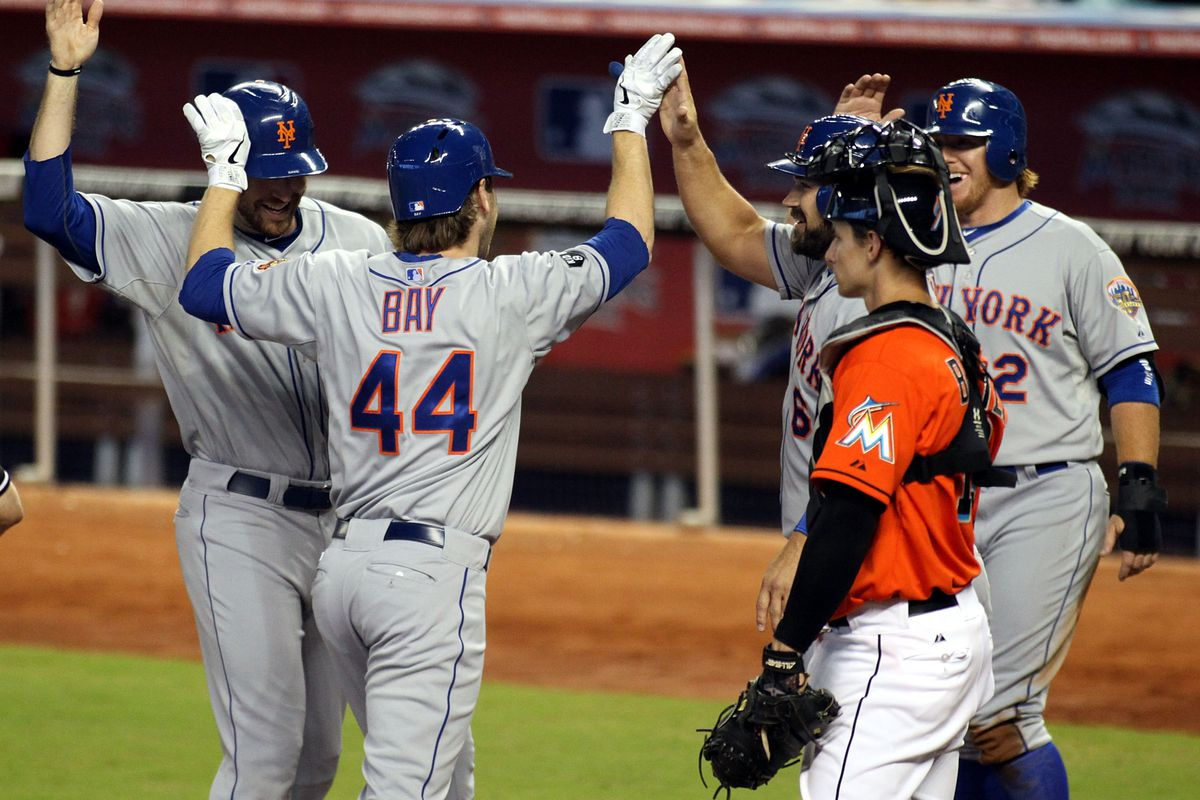 MIAMI, FL - SEPTEMBER 02:  Jason Bay #44 of the New York Mets celebrates a grand slam home run with teammates against the Miami Marlins at Marlins Park on September 2, 2012 in Miami, Florida.  (Photo by Marc Serota/Getty Images)