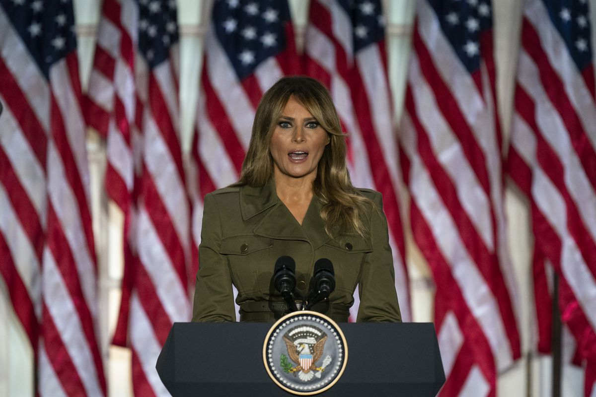 First lady Melania Trump speaks to the 2020 Republican National Convention from the Rose Garden of the White House, Tuesday, Aug. 25, 2020, in Washington.