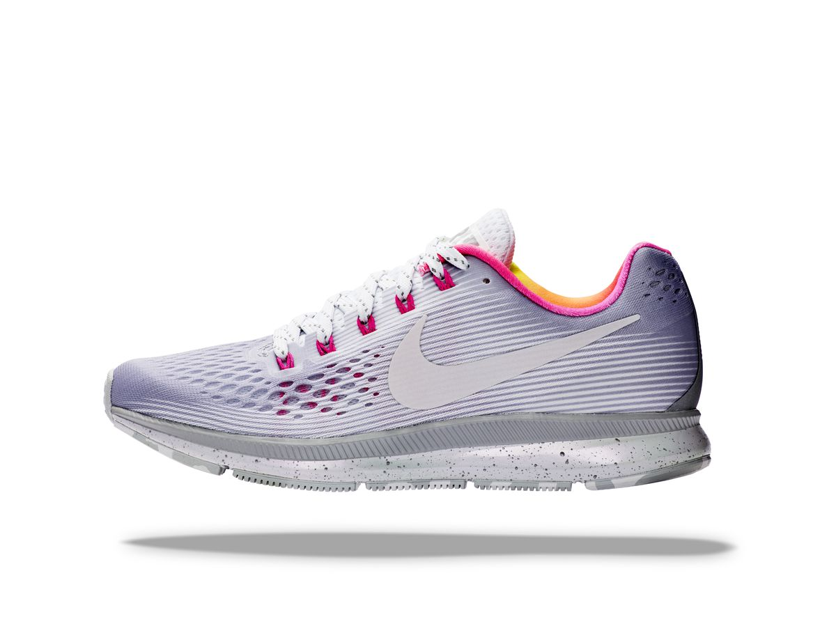 fab438967fe7 Nike Air Zoom Pegasus 34 BE TRUE  Reflective materials hold an iridescent  palette reminiscent of this running stalwart s mythological namesake.