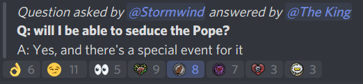 screenshot showing a Discord conversation excerpt in which a Crusader Kings 3 developer tells players they may seduce the Pope.