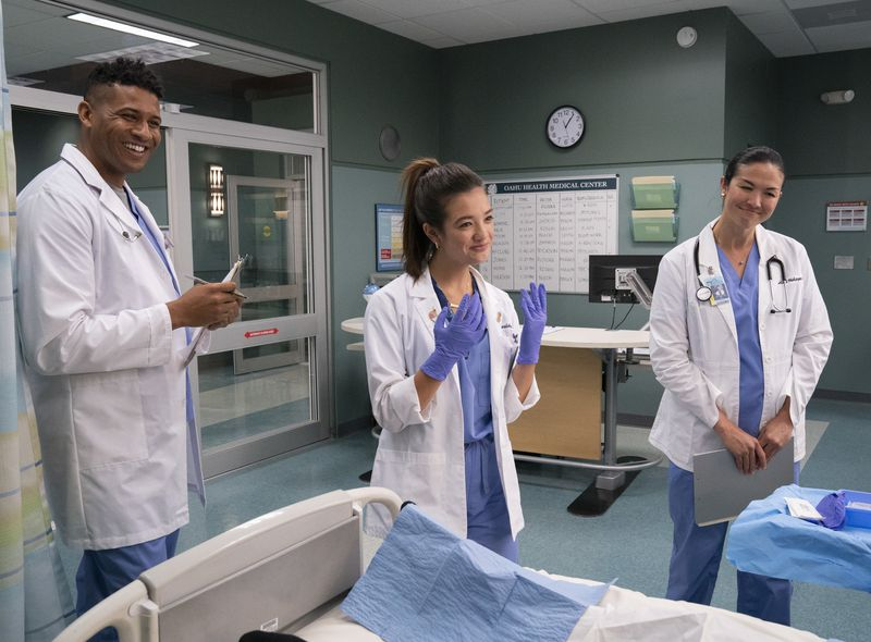 """Jeffrey Bowyer-Chapman (from left), Peyton Elizabeth Lee and Mapuana Makia are shown in episode one of Season 1 of """"DoogieKamealoha, M.D.,"""" a new Disney= coming-of-age dramedy inspired by the hit medical series """"Doogie Howser, M.D."""""""