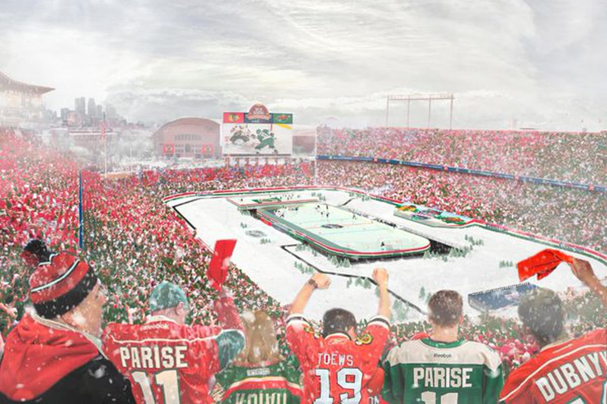 The NHL's rendering of what the Blackhawks-Wild 2016 Stadium Series game Feb. 21 might look like.
