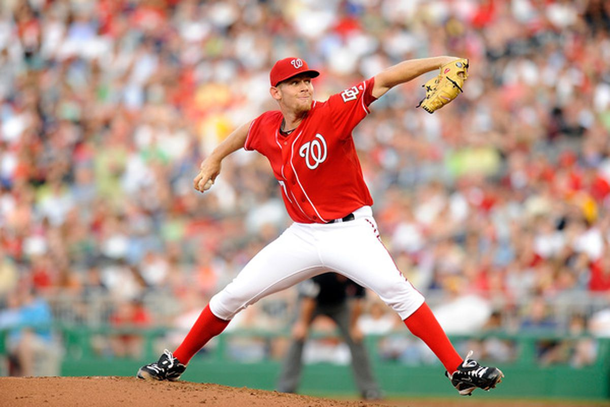 WASHINGTON - JUNE 18:  Stephen Strasburg #37 of the Washington Nationals pitches against the Chicago White Sox at Nationals Park on June 18, 2010 in Washington, DC.  (Photo by Greg Fiume/Getty Images)