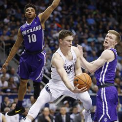 Brigham Young Cougars guard McKay Cannon (24) passes the ball in Provo on Thursday, Dec. 28, 2017. BYU won 69-45.
