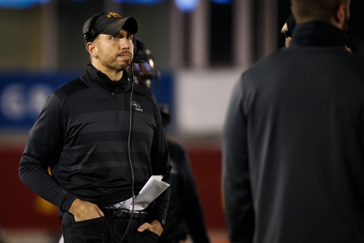 Ames, Iowa, USA; Iowa State Cyclones head coach Matt Campbell looks on during a game against the Kansas State Wildcats at Jack Trice Stadium.
