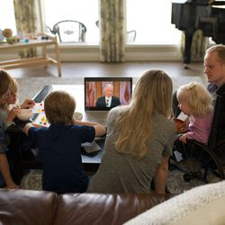 A family in Calgary, Canada, participates in a session of The Church of Jesus Christ of Latter-day Saints' 191st Annual General Conference, which was broadcast from Salt Lake City on Saturday, April 3, and Sunday, April 4, 2021.