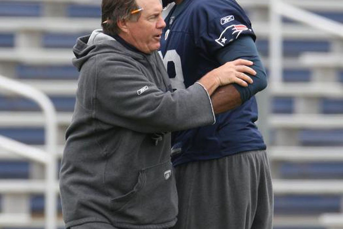 <em>Coach Bill Belichick gives his advice during a drill at mini camp practice at Gillette Stadium on 06/10/09</em>