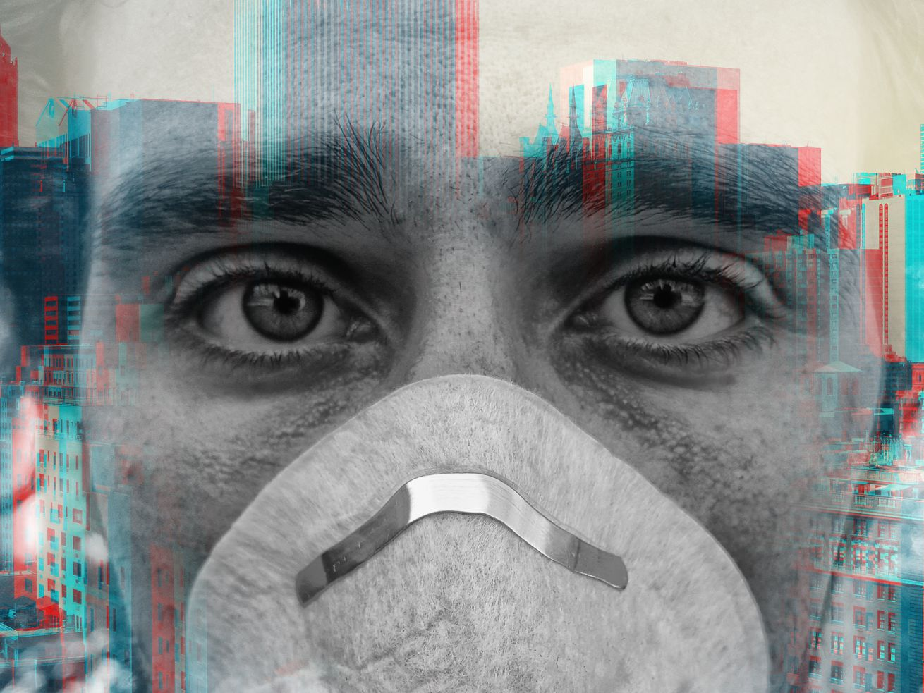 A person wears a mask and looks anxious in this illustrated photo.