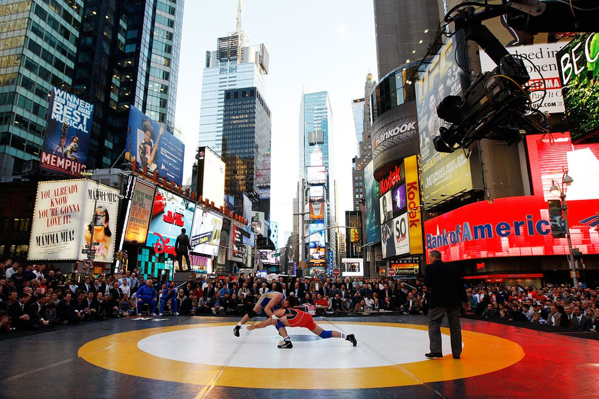 """NEW YORK - MAY 05:  A general view of USA vs Russia freestyle wrestling during the 2011 """"Beat The Street"""" Gala on May 5, 2011 in Times Square, New York City.  (Photo by Mike Stobe/Getty Images)"""