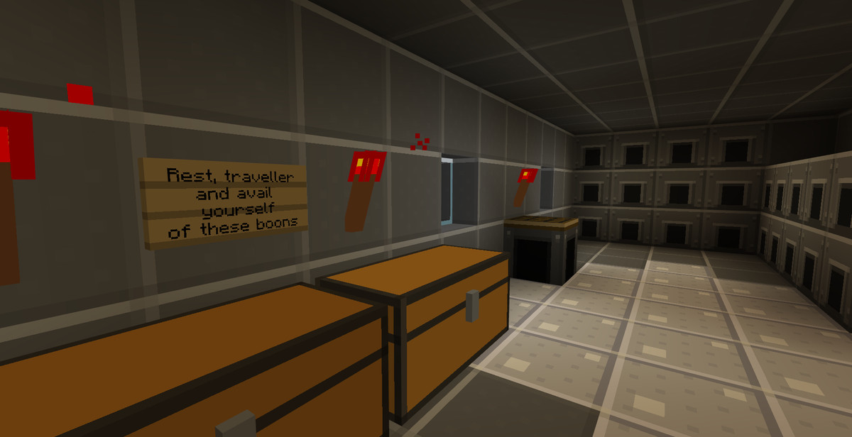 Minecraft - an interior shot of a player's lair, full of furnaces and chests
