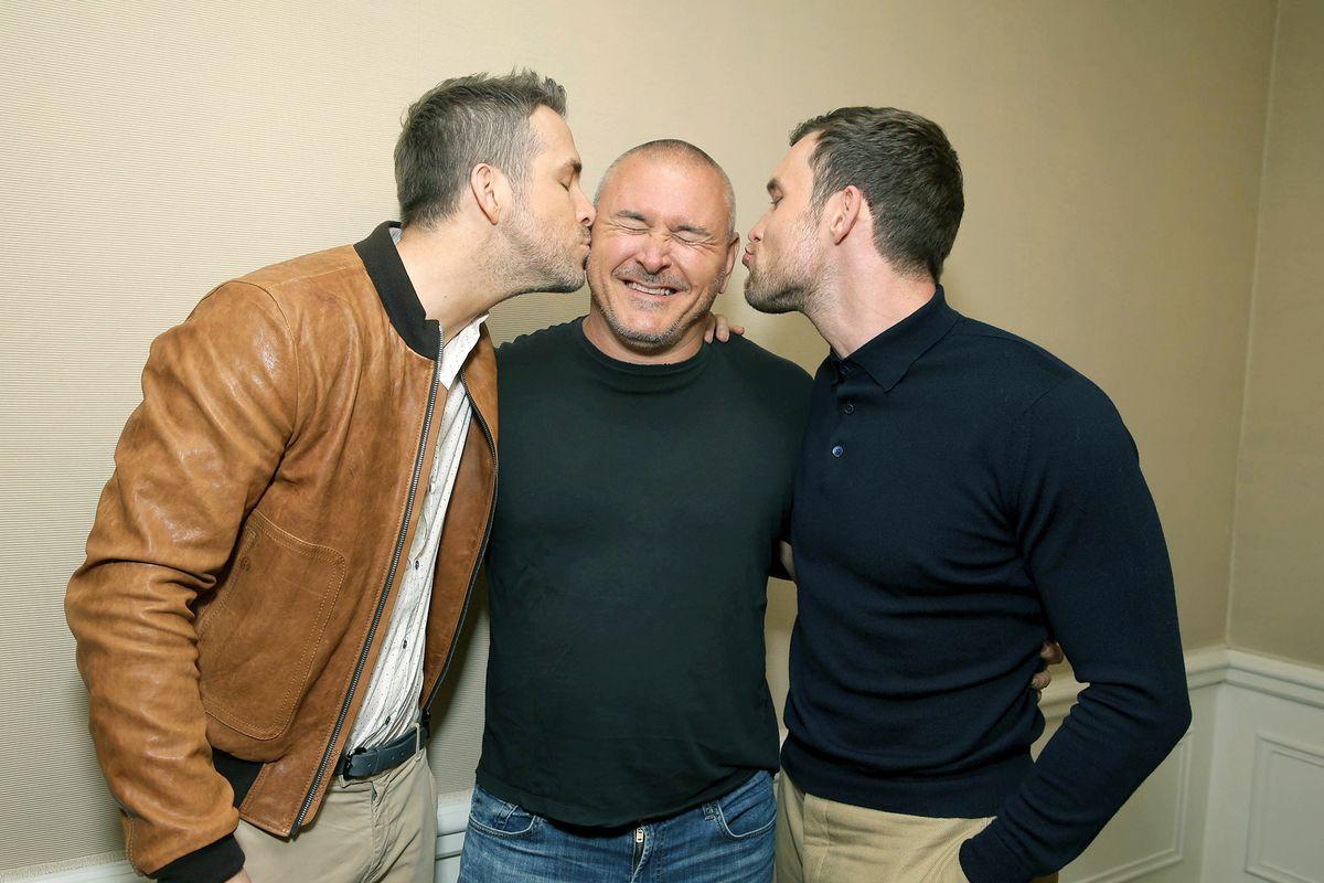 Ryan Reynolds, Tim Miller, Ed Skrein - Deadpool press event photo