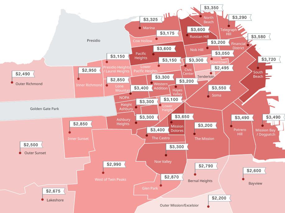 Map: Median one-bed rents across San Francisco neighborhoods ... on san francisco rent chart, abu dhabi rent map, san francisco ca, heat map, austin rent map, san francisco rent rates, san francisco neighborhoods to avoid, portola ca map,