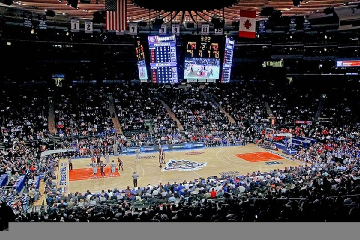 Mar 6, 2012; New York, NY, USA;  General view of Madison Square Garden during the game between the Providence Friars and the Seton Hall Pirates in the first round of the 2012 Big East Tournament. Mandatory Credit: Jim O'Connor-US PRESSWIRE