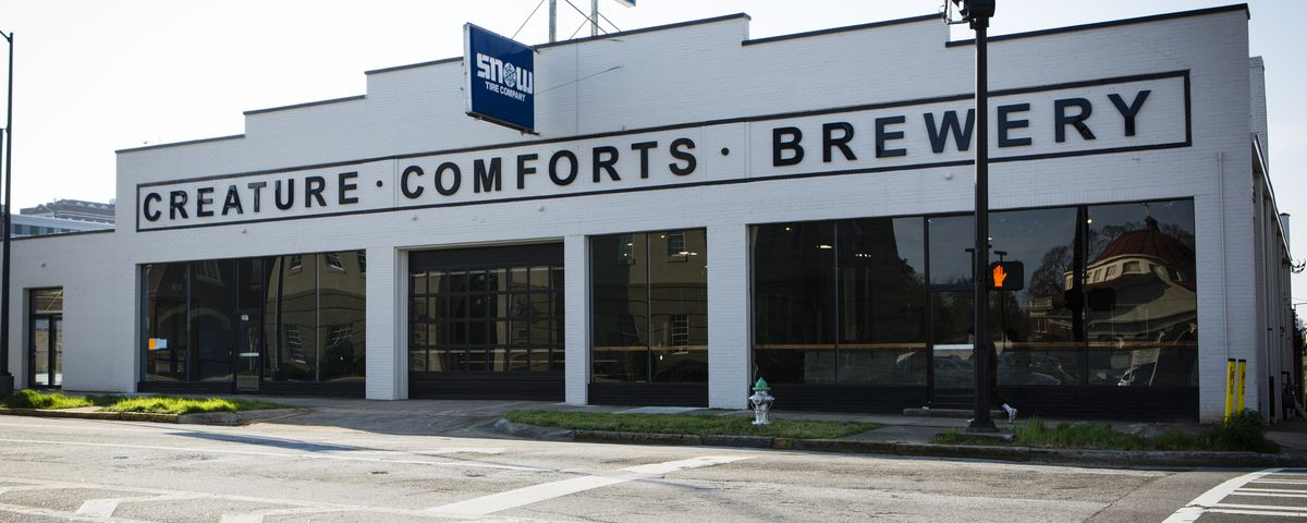 Exterior shot of Creature Comforts brewery.