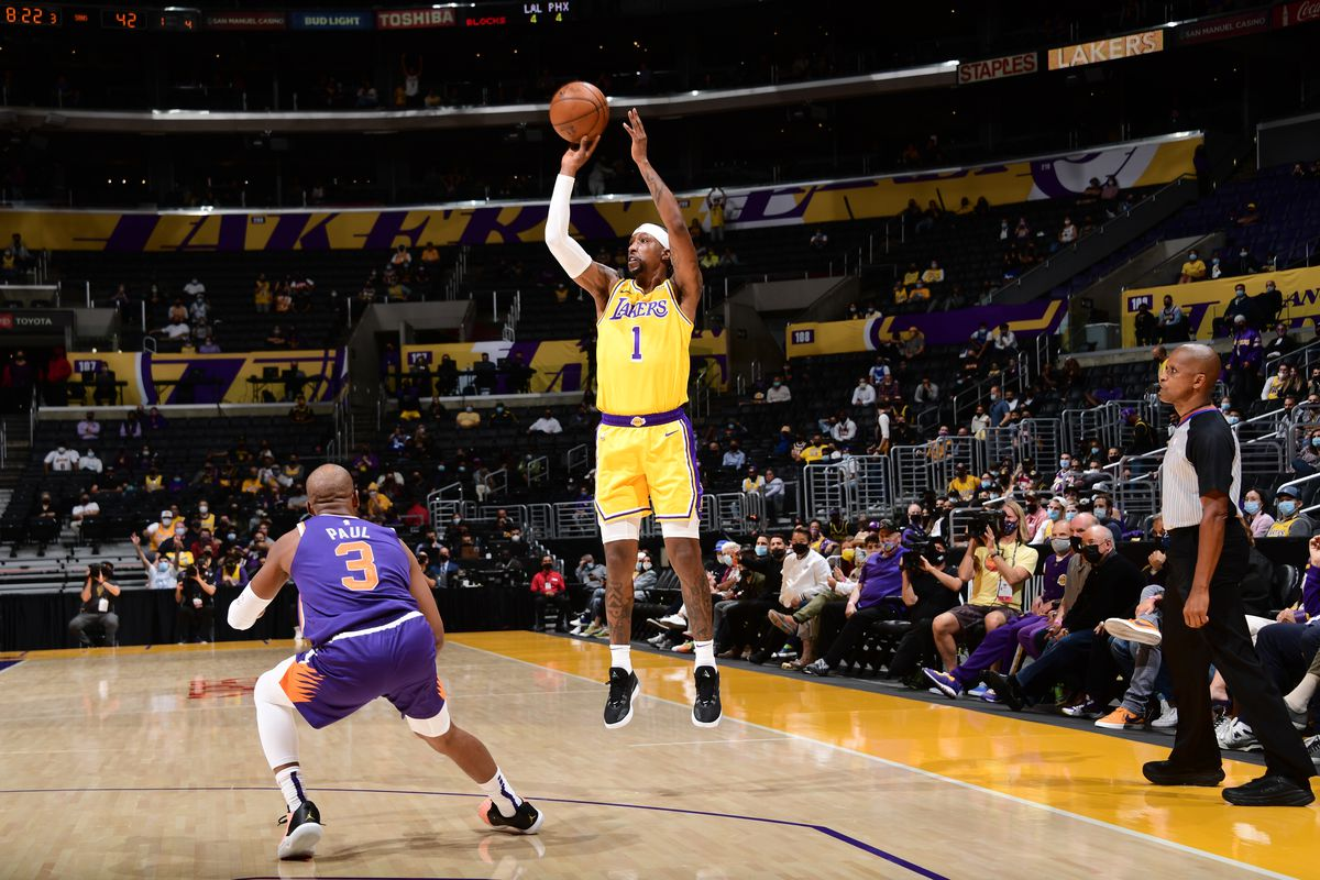 Kentavious Caldwell-Pope of the Los Angeles Lakers shoots the ball during the game against the Phoenix Suns during Round 1, Game 3 of the 2021 NBA Playoffs on May 27, 2021 at STAPLES Center in Los Angeles, California.