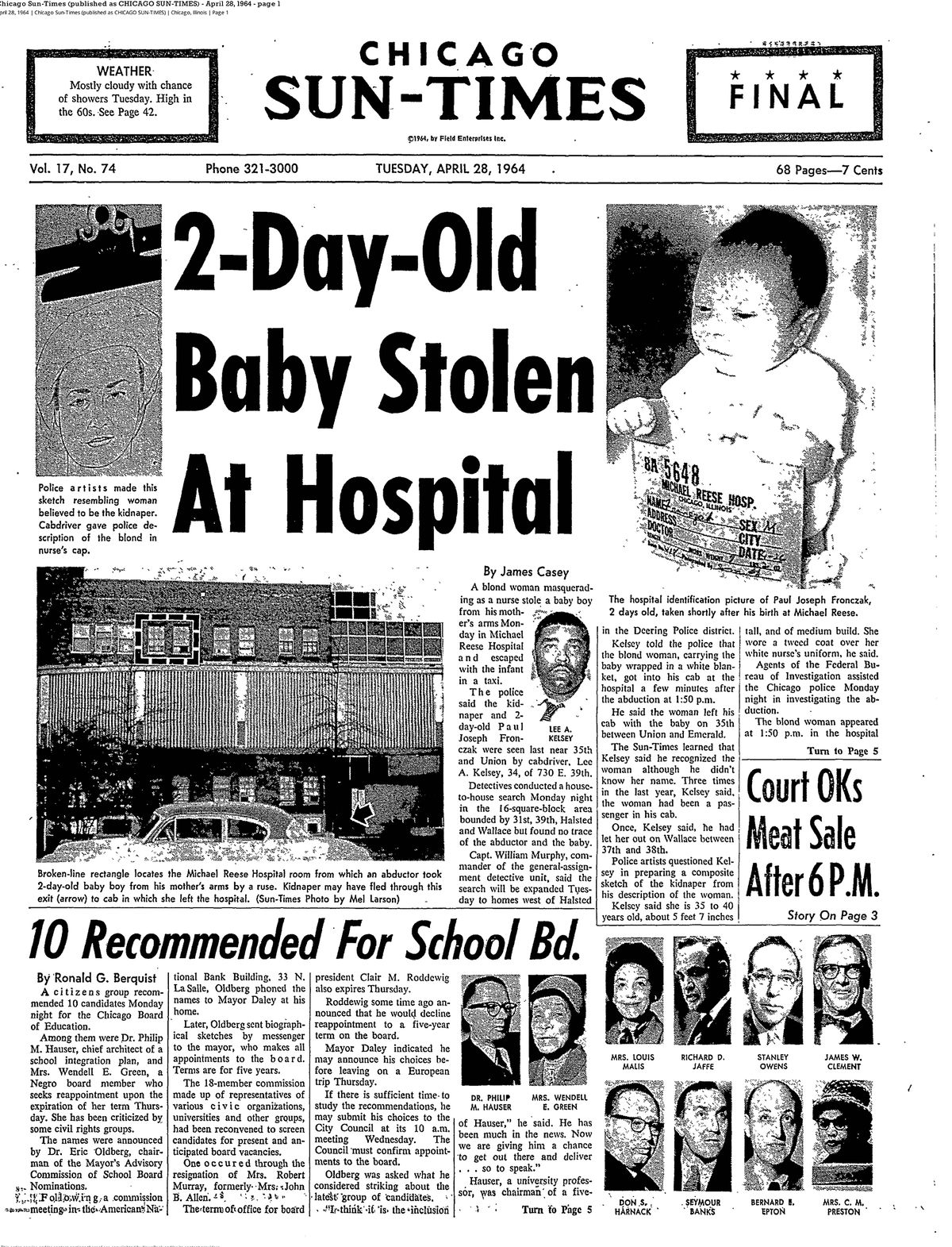 Chicago Sun-Times front-page coverage on the 1964 kidnapping of baby Paul Fronczak from Michael Reese Hospital.