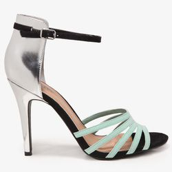 """<b>Forever 21</b> Metallic Heel Strappy Sandal in mint/silver, <a href=""""http://www.forever21.com/Product/Product.aspx?Br=F21&Category=Shoes&ProductID=2030187389&VariantID="""">$22.80</a>"""