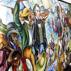 One of six enormous Hale Woodruff murals is shown. They make up the focal point of the High Museum of Art exhibit.