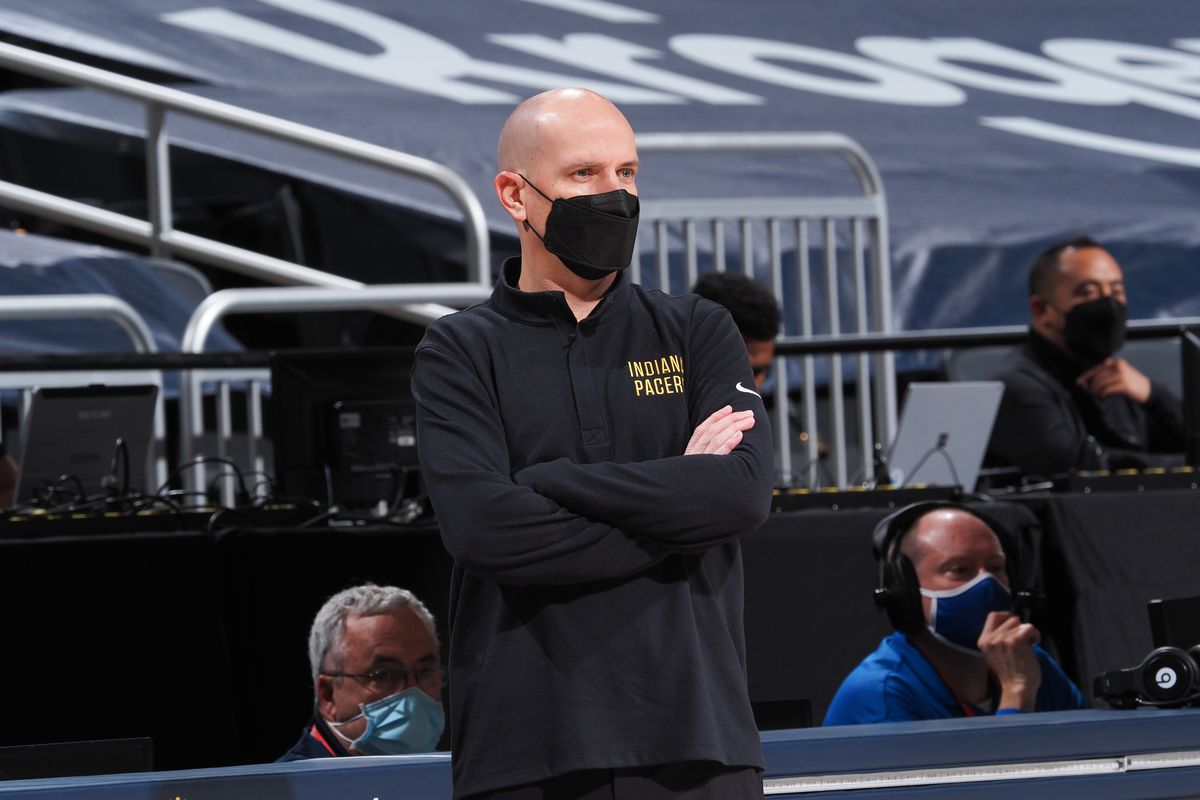 Head Coach Nate Bjorkgren of the Indiana Pacers looks on during the game against the Sacramento Kings on May 5, 2021 at Bankers Life Fieldhouse in Indianapolis, Indiana.
