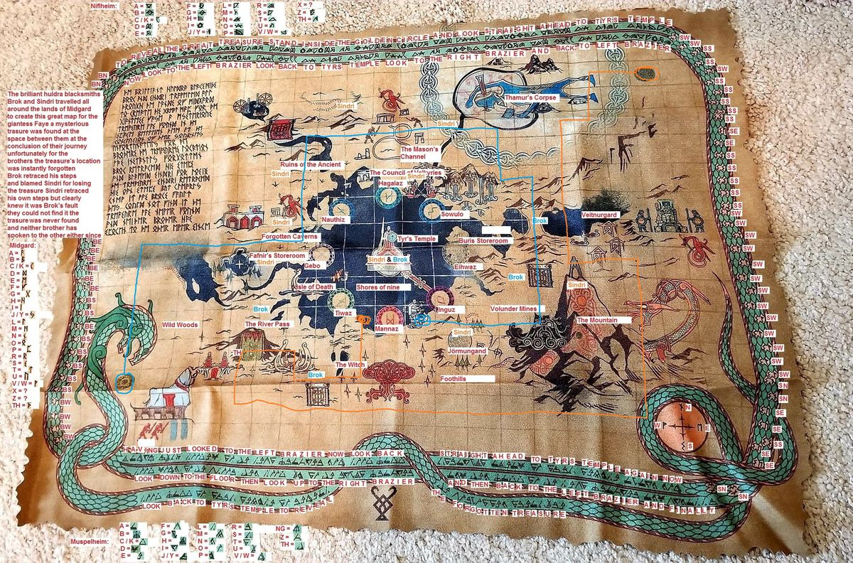An annotated version of the cloth map, included with the God of War collector's edition.