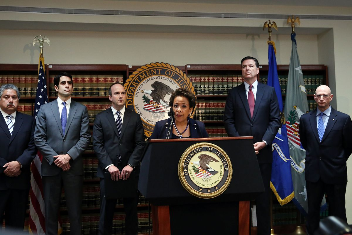 Attorney General Loretta Lynch announces the FIFA indictments at a May 27 press conference